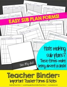 Teacher Binder Important Forms, Sub Plans, & Notes Editable