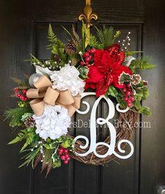 ON SALE NEW! Christmas Wreath for Front Door, Christmas Wreaths, Holiday Door Wreaths, Front door wreath, Grapevine Door Wreath, Wreath for - $132.26 USD