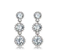 Cute CZ diamond sterling silver drop earrings