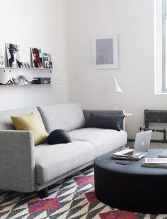 Live/Work - Tuck Sleeper Sofa/Vipp Shelving/Drum Pouf/Nelson Pedestal Table