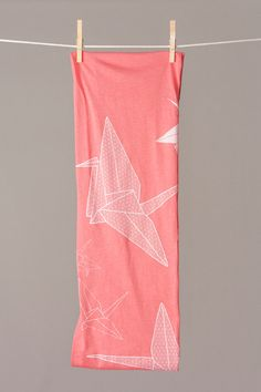 infinity scarf  paper crane scarf  origami scarf  FREE by flytrap, $32.00