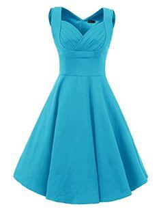 Vianla Women s 1950s V Neck Vintage Cut Out Casual Party Cocktail Dresses  blue S Vianla http 80bc30d435f6
