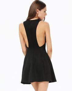 Black Sleeveless Backless Flare Dress 22.99