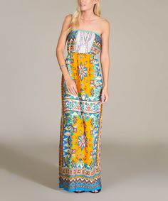 Look at this Blue & Yellow Scarf-Print Strapless Maxi Dress on #zulily today!
