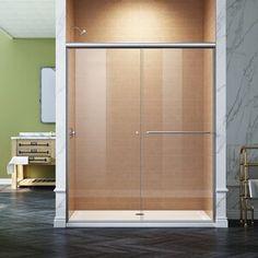 "SUNNY 59"" W x 62"" H Semi-Frameless Shower Door | Wayfair Tub Shower Doors, Frameless Sliding Shower Doors, Double Sliding Glass Doors, Sliding Doors, Shower Base, Safety Glass, Glass Design, Chrome Finish, Clear Glass"