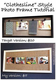 Clothesline Style Photo Frame Tutorial (Target Knock Off) via TheKimSixFix.com