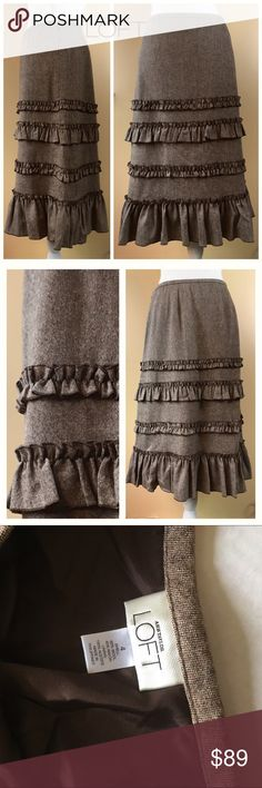 "🚨BUNDLE SALE🚨 Loft Brown Tweed Ruffle Skirt Loft Brown Tweed Wool-blend Ruffle Tiered Skirt, size 4. Fully lined, Approximate Measurements (flat):  14.5"" across waist, 18.25"" across hip, 26.5"" long In excellent pre-owned condition. 🎀Search my closet for your size 🎀BUNDLE and SAVE! 🎀REASONABLE offers WELCOME 🎀NO TRADES NO HOLDS 🎀Thank you for stopping by!❤️ LOFT Skirts Midi"