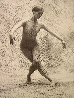 """viola farber  dancer in """"summerspace""""  1958.  Black Mountain College.  Choreographed by Merce Cunningham.  Designed by Robert Rauschenberg. Music by Morton Feldman.  Black Mountain College was a Garden of Eden for the arts.  We are still feeling its reverberations. http://mondo-blogo.blogspot.com/2010/07/women-of-black-mountain-college.html"""