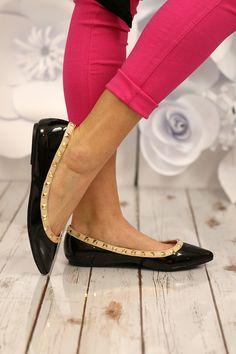Be My Valentin-O Flats in Black