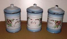 3 Superbe Ancien Pot a épice Émaillé decor fleur JAPY  No cafetière boite a Sel