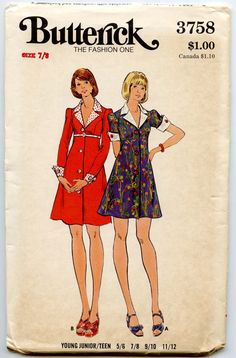 dress+with+juliet+sleeves+and+princess+waistline+1970s | ... 3758 Misses Empire Waist Princess Seam Flared Mini Dress Bust 29