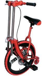 Monociclo con amortiguación interna y manillar telescópico.