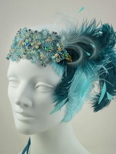 Teal And Aqua Ostrich Feather Flapper Headband by BaroqueAndRoll, $128.00