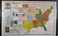 Our travels- a map with all the states we've been to together accented and tickets from our travels on the other half.