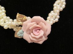 Vintage 1928 Jewelry Co Porcelain Rose and Faux Pearl Necklace with Free Shipping