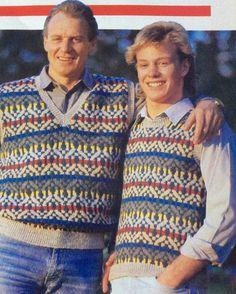 Alan Dale & Jason Donovan - Jim & Scott Robinson - Knitting pattern, New Idea 9/8/86