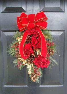 Christmas Swag- Holiday Wreath- Christmas Wreath Alternative- Christmas Door Decor on Etsy, $75.00