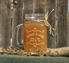Possible wedding favors? Rustic Mason Jar, Barn Wedding Decor, Rustic Toasting Glasses, Mason Jar Glasses, Personalized Etched Mugs for Barn Wedding Favors. $10.00, via Etsy.