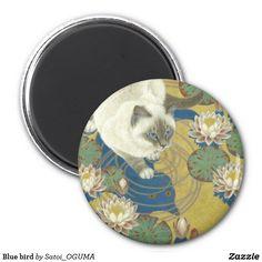 Beatiful siamese cat and water lilies magnet by Satoi Oguma. <Blue bird>