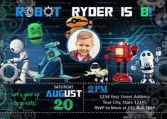 Robot Invitation, Robotics Party, Fun Science Birthday Invite Party Fun, Party Ideas, Large Photos, High Resolution Photos, Robotics, Birthday Invitations, Thank You Cards, Rsvp, Invite