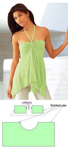 Летняя блузка на бретельках из легкого шифона - легко и просто сшить летний наряд