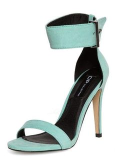 Minzgrüne, hohe Sandaletten