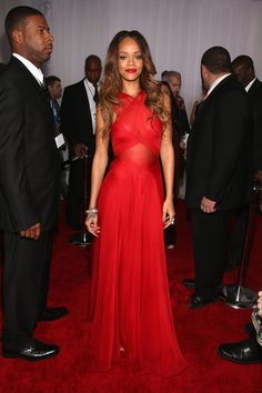 Rihanna at The 55th Annual GRAMMY Awards, red carpet