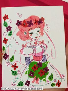 Check out this item in my Etsy shop https://www.etsy.com/listing/546584171/pink-haired-bride-original-watercolor