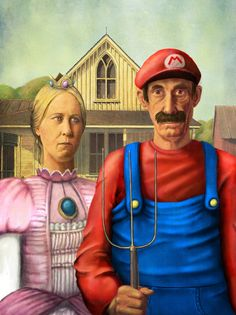 Here is another parody of the American Gothic House painting. I couldn't just ignore this one. I love mario, and it's just great. Plus, it also fits the Iowa theme that we went over. American Gothic Painting, American Gothic House, Grant Wood American Gothic, American Gothic Parody, American Art, Deviant Art, Thrift Store Art, Art Grants, Thoughts