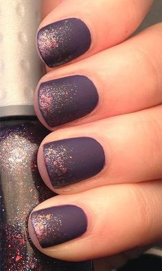 This matte purple with a blush of pink glitter makes for a sultry contrast. #nailpolish #nailart