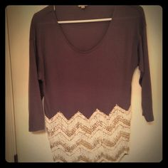 Gray embellished Cremieux top Gray embellished Cremieux top with pearl and gold beading on the bottom. Worn once! Tops