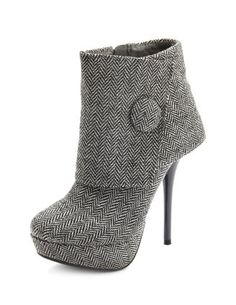 Cuffed Houndstooth Ankle Bootie