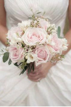 Exquisite Bridal Bouquet Which Includes: Soft Pastel Pink Roses, White Freesia, White Wax Flower & Green Seeded Eucalyptus~~ Rose And Gypsophilia Bouquet, Pink Rose Bouquet, Bridal Bouquet Pink, Bouquet Wedding, Rose Wedding, Floral Wedding, Wedding Beauty, Wedding Tips, Trendy Wedding
