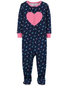 She'll sleep in style in this colorful 1-piece. Carter's cotton PJs are not flame resistant. But don't worry! They're designed with a snug and stretchy fit for safety and comfort.