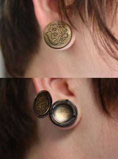 Locket plugs. If I were to do this to my ears, this is what I'd put in them.