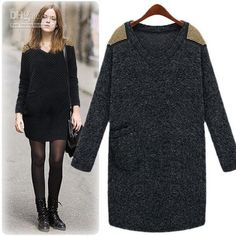 Loose sweater dress with ankle boots