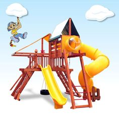Play Equipment Spiral Slide - Cubby House Swing Set Timber Playground Exdisplay