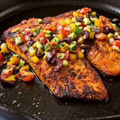 Pan Seared Salmon with Mediterranean Salsa Fresca and ...