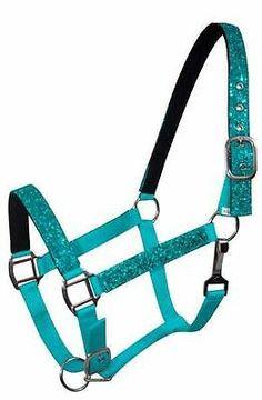 TEAL Nylon Neoprene Lined Horse Halter w/ Glitter Overlay! NEW HORSE TACK