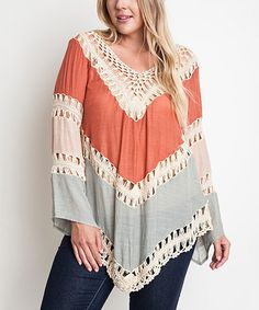 Love this Rust & White Open-Crochet Top Top - Plus on #zulily! #zulilyfinds