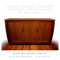 An elegant cabinet in a beautiful minimalist orb style, this handmade cabinet showcases the beautiful rich marbly grains that are found in the Figure Sapelle, Cooktown Ironwood & Ebony timber species. The rich golden hues show up beautifully and the lacquer finish adds a lovely sheen on this cabinet. Worldwide shipping available. Every furniture comes with a 10 year warranty on construction. If you are interested in having a custom made fine furniture by Will Marx, visit www.willmarx.com.au
