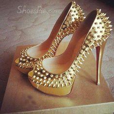 Unique Rivets Peep-Toe Golden Stiletto Dress Sandals