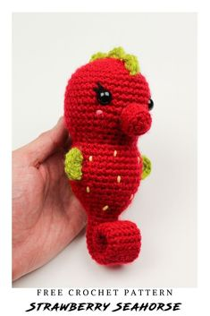 Summer is here, so swim with the seahorses! Learn how to get started with amigurumi with this free crochet pattern. Create your own cute crochet strawberry seahorse project with this free crochet pattern! Cute and  kawaii, this basic and beginner friendly DIY project is perfect for any crocheter. This stuffed animal strawberry seahorse is perfect for home decor. This stuffed doll is the perfect animal plushie for anyone! Make your own toys with your crochet stuffies. Crochet Animal Amigurumi, Crochet Baby Toys, Crochet Amigurumi Free Patterns, Easy Crochet Patterns, Crochet Dolls, Fish Patterns, Kawaii Crochet, Cute Crochet, Simple Crochet