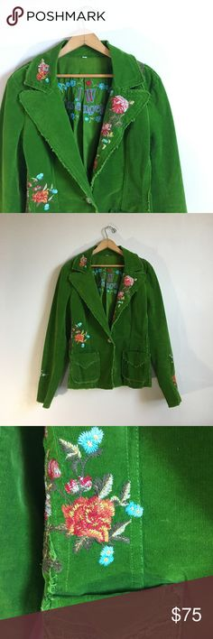 Johnny Was Embroidered Green Blazer No trades! Excellent condition! Beautiful JWLA embroidered green corduroy blazer jacket. One button closure. Buttons on sleeves. Colorful floral embroidery throughout. Size Large! Johnny Was Jackets & Coats Blazers
