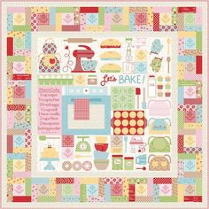 """This is my """"Let's Bake!"""" Quilt that I designed for my fabric collection Bake Sale 2 and was introduced at quilt market last week. My…"""