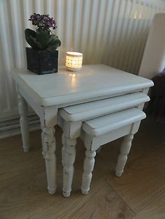 Old White Hand Painted Shabby Chic Nest of Tables : : Annie Sloan Shabby Chic Nest Of Tables, Nesting Tables, Shabby Chic Furniture, Furniture Diy, Furniture, Painted Furniture, Furniture Restoration, Home N Decor, Refinishing Furniture