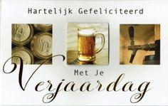 Verjaardagskaart met bier. Birthday Wishes, Happy Birthday, Latte, Place Cards, Place Card Holders, Mugs, Tableware, Carton Box, Beer
