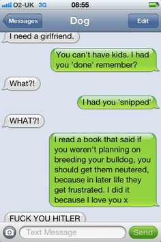 text from dog.  Hilarious :D