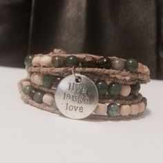 Inspirational triple gemstone and aromatherapy diffuser leather wrap by LavaSense on Etsy
