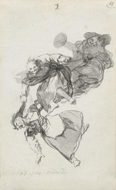 Francisco Goya, Spanish, 1746-1828. Ink.  https://astrofella.files.wordpress.com/2015/03/they-go-down-quarrelling.jpg